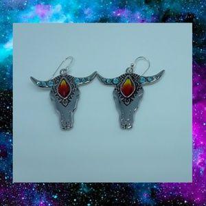 Swarovski crystal longhorn earrings